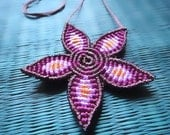 Macrame Flower Necklace purple