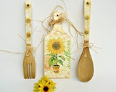 SUNFLOWERS - Wooden Kitchen set / 3 parts / Housewife gift/ Home decor
