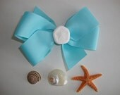 Tiffany Blue Ribbon Hair Bow Barrette Embellished with Sugar Starfish, Nautilus Shell, Sea Cookie or Sundial Shell...You Choose