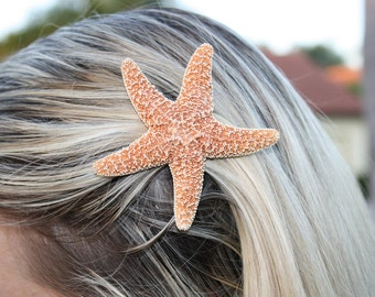 Small Sugar Starfish Hair Clip Barrette, Mermaid Accessory, Wedding Hair, Halloween Costume