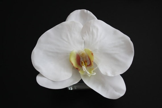 Fine Silk Floral Bouquet Arrangement White Phalaenopsis Orchid Wedding Party Favor In Square Votive with Illusion Faux Water
