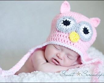 Pink Crochet Owl Hat Newborn Photo prop 3 to 6 months