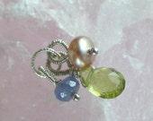 petite trio tanzanite rondelle, peridot drop and pink pearl