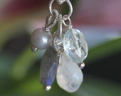 petite clusters of labradorite, aquamarine, moonstone balloon drop and white and gray pearl interchangeable charm