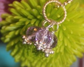 Trio cluster of 5mm faceted amethyst dangle interchangeable charm