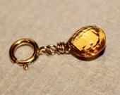 DIY  sparkling citrine heart briolette 14k gold filled charm