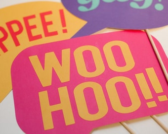 Speech Bubble Cheers on a Stick - Set of 3 Photo Booth Props