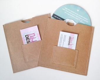 10 brown DVD sleeves with business card pocket on the front