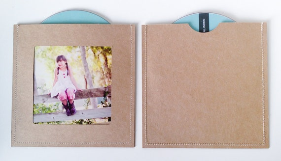 DVD Cases / Sleeves - Set of 10 brown DVD sleeves with photo slot on front and DVD slot on back