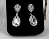 Cubic Zirconia Pear Shape Drop Earrings
