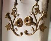 Morning glory flowers antique brass white crystal Art Nouveau Victorian earrings