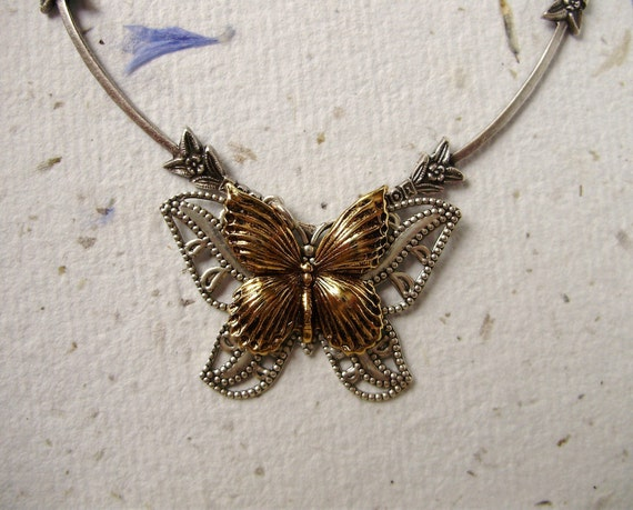 Butterfly silver necklace antique gold - French Art Nouveau Inspired - Handmade gift for her