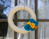 Yarn and Felt Flower Wreath