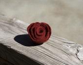 Maroon Felt Flower Pin