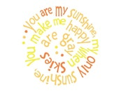 You Are My Sunshine Cute Yellow and Orange Summer Love Quote Art Print with Custom Color Mat, 5 x 7 Print with 8 x 10 Mat