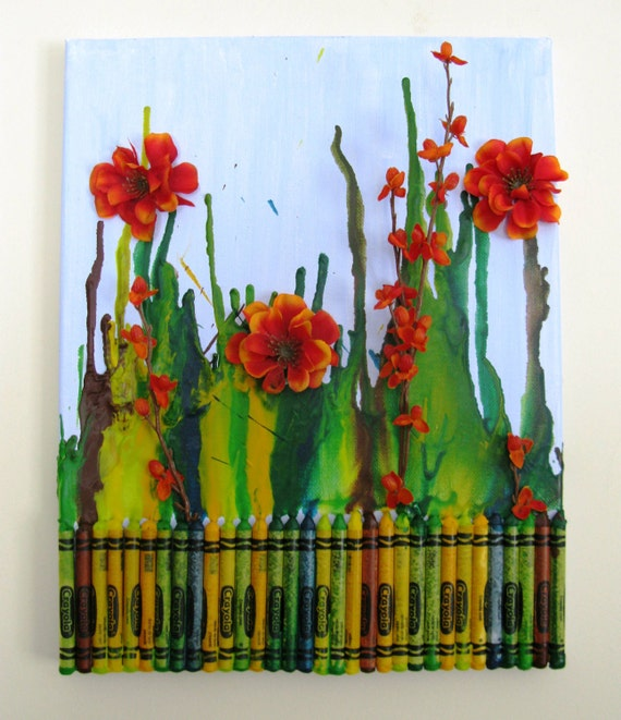 Flower Gardens with Melted Crayon and Bright Flowers