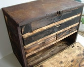 Vintage / Antique Rustic Wooden Machinist Drawer Chest with 4 Drawers