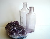 Vintage / Antique Amethyst Purple Apothecary Glass Bottles (Set of 2) - Instant collection
