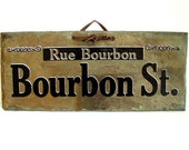 Antique Slate Rock Bourbon Street Sign (100-200 year old slate) - Collectible, Home Decor