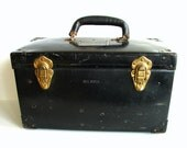 Vintage Large Black Metal Case / Box with Leather Handle - Heavy-duty Industrial Decor, Storage and more