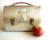 Vintage Silver Metal Lunch Pail / Lunch Box by American Thermos Co. - Industrial decor, and more