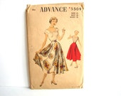 Vintage 1940s Advance Pattern 5509, Misses' Scoop Neck Blouse and Full Circle Skirt, Unused - Womens Size 12 Sewing Pattern, Collectible