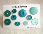 """Vintage Buttons in Dark and Light Green (Set of 10) """"The Green with Envy Set"""" - Collectible, Crafts, Altered Art and more"""