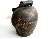Vintage / Antique Large Cow Bell, Loud and Low Sound on Strap with Buckle - Collectible, Rustic Home Decor