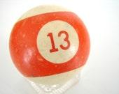 "Vintage Orange Striped 13 Pool Ball / Billiard Ball with Orange Number, Standard Regulation Size (2-1/4"")"