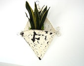 Vintage Chippy White Metal Wall Pocket / Wall Planter - Home Decor, Garden Decor, and more