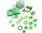 Vintage Bright Green Buttons and Ribbon, Twine, Thread Destash Inspiration Kit - Gift Wrapping, Collage, Altered Art, and more