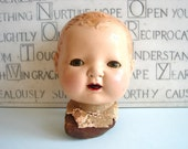 Vintage / Antique Doll Head with Leather Neck Piece - Unusual Collectible, Altered Art, Mixed Media, and more