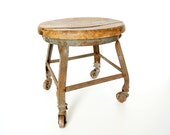 Antique / Vintage Wood and Metal Stool on Casters - Rustic Farmhouse / Industrial Decor, Plant Stand, and more