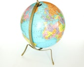 Vintage Replogle 12 inch Reference Globe with Hard-to-Find Silvertone Art Deco Stand - Home Decor, Collectible