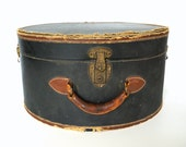 Vintage / Antique Black Leather Hat Box (circa.1920s), Travel Case - Collectible, Home Decor, Storage, and more
