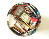 Vintage Sewing Notions and Supplies in Large Tin (4.8 pounds of notions) - Collectible, Sewing Projects, Altered Art, and more