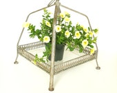 Vintage Metal and Glass Shelf / Plant Holder / Party Tray (Large) - Perfect for your home, garden, or party decor