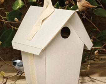 """Do-It-Yourself Bird House Kit - Eco-friendly Unique Paper Birdhouse that lasts an entire season - """"Green"""" Birdhouse for Spring"""