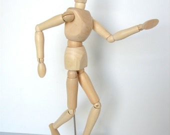 """Wood Manikin / Mannequin (12"""" high) - Perfect for drawing, decoration, or quirky companionship"""