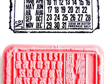 Perpetual Calendar, Ticket Stamp - Rubber Cling Mounted Stamp