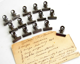 Small Metal Hinge Clips in Antique Nickel Finish (Set of 15) - Use for paper projects, cards, altered art, and more