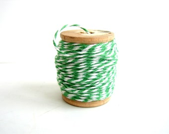 "Green and White Bakers Twine, ""Grass Green"" (10 yards) on Vintage Spool - Gift Wrapping, Crafts, and more"