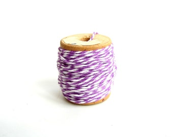 Plum Perfect, Purple and White Bakers Twine (10 yards) on Vintage Spool - Gift Wrapping, Crafts, and more