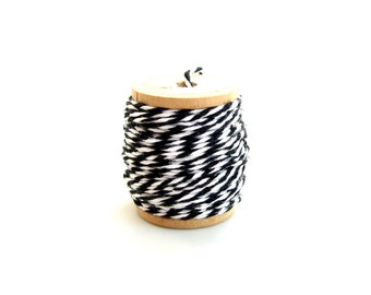 Classic Black and White Bakers Twine (10 yards) on Vintage Spool - Gift Wrapping, Crafts, and more