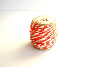 Orange Zest, Orange and White Bakers Twine (10 yards) on Vintage Spool - Gift Wrapping, Crafts, and more