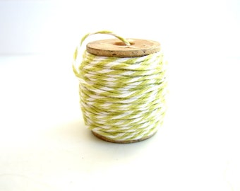 Spring Green and White Bakers Twine (10 yards) on Vintage Spool - Gift Wrapping, Crafts, and more
