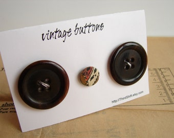 "Vintage Buttons in Dark Brown (Set of 3) ""The Hot Cocoa Set"" - Collectible, Crafts, Altered Art and more"