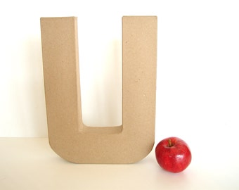 """Paper Mache Letter U (12"""" tall) - Ready to Decorate Blank Letter, Home Decor, and more"""