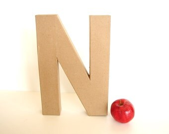 "Paper Mache Letter N (12"" tall) - Ready to Decorate Blank Letter, Home Decor, and more"