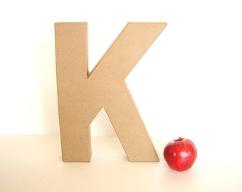 "Paper Mache Letter K (12"" tall) - Ready to Decorate Blank Letter, Home Decor, and more"
